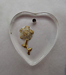 Czech glass reverse painted intaglio rose flower heart pendant charm 17x16mm - d230