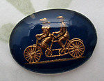 glass reverse painted intaglio bicycle built for two cabochon 25x18mm - d238