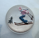 glass reverse painted intaglio of a skier cabochon 18mm - d261