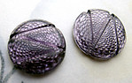 6 pcs. glass purple swirl reflector foiled cabochons 13mm - d274