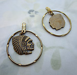 4 pcs. raw brass Native American Indian Chief head in hoop circle 26mm - d281