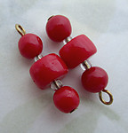 6 pcs. glass red bead charms on raw brass wire 18x7mm - d282