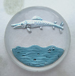 glass reverse painted intaglio leaping fish cabochon 22mm - d318