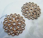 4 pcs. raw brass filigree circle rivet on stamping findings 23mm - d321