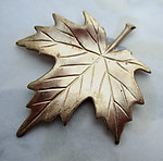 2 pcs. raw brass maple leaf stampings 42x36mm - d322