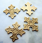 10 pcs. raw brass casted English cross flat back cabochons findings 18mm - d325