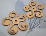 4 pcs. raw brass spiral flower stampings w rivet hole 27mm - d38