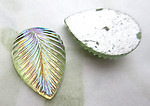 4 pcs. glass pale green AB foiled flat back leaf cabochons 14x10mm - d401
