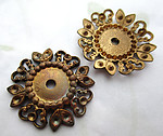 4 pcs. raw brass flower rivet on w cabochon and rhinestone settings 23mm - d402