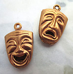 6 pcs. raw brass two sided comedy tragedy mask charms 14x10x4mm - d409