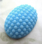 glass turquoise blue bumpy cabochon 25x18mm - d417