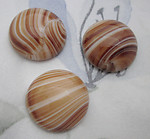 2 pcs. glass brown beige stripe flat back cabochons 20mm - d41