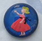 glass reverse painted intaglio girl in pink dress cabochon 13mm - d53