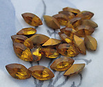 72 pcs. glass topaz foiled navette rhinestones 8x4mm - d64