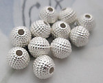30 pcs. silver tone plated brass bumpy round beads 6mm - d77