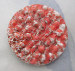 2 pcs. glass bumpy coral orange matrix flat back cabochons 22mm - d79