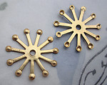 6 pcs. raw brass starburst stampings w rivet hole 22mm - d82