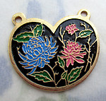 3 pcs. gold tone floral enamel connector charms 21x18mm - f3345