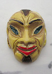 hand painted celluloid mask face cabochon 25x19mm - f3602