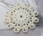 3 pcs. celluloid filigree off white findings 18mm - f3617