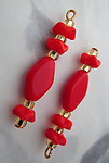 6 pcs. glass red bead charms 31x7mm - f3664