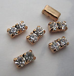 18 pcs. MCC machine cut crystal clear rhinestones in double gold tone settings 6x3mm - f3670