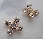 6pcs. MCC machine cut crystal clear prong set rhinestone x shapes in gold tone plated settings 7x7mm - f3681
