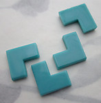 12 pcs. glass turquoise blue L shaped flat back tile cabochons 12x12mm - f3685