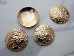 12 pcs. gold tone plated etched flower floral disk stamping charms 13mm - f3703