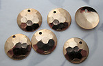 18 pcs. gold tone plated hammered look disk stamping charms 13mm - f3706