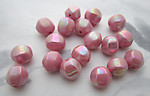 36 pcs. glass opaque pink w iridescent finish beads 8mm - f3716