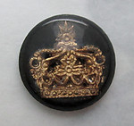 glass reverse painted intaglio crown cabochon 13mm - f3745