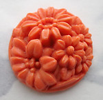 glass coral orange molded flower floral hollow back cabochon 20mm - f3760
