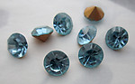 24 pcs.  MCC machine cut crystal aqua blue foiled chanton rhinestones ss30 - f3765