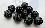 30 pcs. plastic black rosette rose flower beads 8mm - f3907