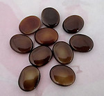 10 pcs. vintage glass brown oval cabochons 10x8mm - f4591