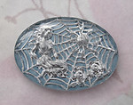 reverse painted glass intaglio woman in spider web cabochon 25x18mm - f4636