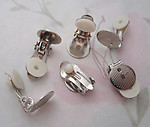 12 pcs. clip on silver tone earring findings w 11.5mm pad for gluing - f4656