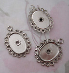 9 pcs. silver tone oval 14x9mm flower settings charms - f4670