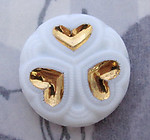 glass white milk relief cabochon w gold plated hearts 24mm - f4781