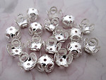 50 pcs. silver tone filigree bead caps 8mm - f4806