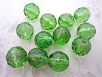 12 pcs. Czech glass faceted fire polished light peridot green beads 14mm - f4818