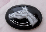 reverse painted intaglio horse cabochon 18x13mm - f4850