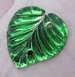 4 pcs. foiled pressed glass leaf peridot green sew on flat back cabochon 14x13mm - f4862