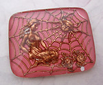 reverse painted intaglio pink woman in spider web cabochon 28x22mm - f4864