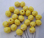 50 pcs. Czech glass opaque yellow fire polished faceted beads 6mm - f4885