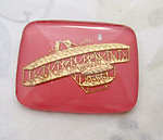 glass reverse painted intaglio pink and gold biplane cabochon 28x22mm - f4913