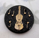 2 pcs. glass black jet w gold cameo relief bass violin music flat back cabochon 18mm - f4934