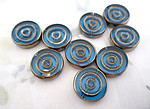 9 pcs. glass concentric circle intaglio turquoise blue beads w antiqued gold 16x4mm - f4938