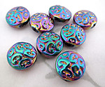 8 pcs. glass ornate paisley AB iris rainbow coated coin beads 13x7mm - f4945